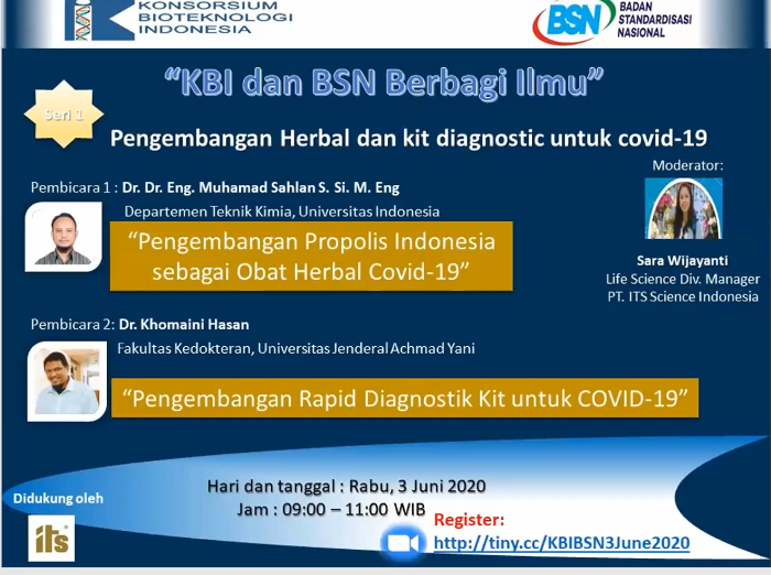 "KBI and BSN Knowledge Sharing Webinar 1st series – ""Development of Herbal Medicine and Rapid Diagnostic Kit for COVID-19"""