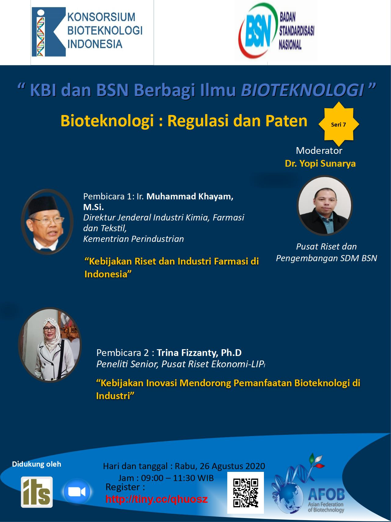 "Live Webinar ""KBI and BSN Knowledge Sharing on Biotechnology"" 7th series – ""Biotechnology: Regulations and Patents"""
