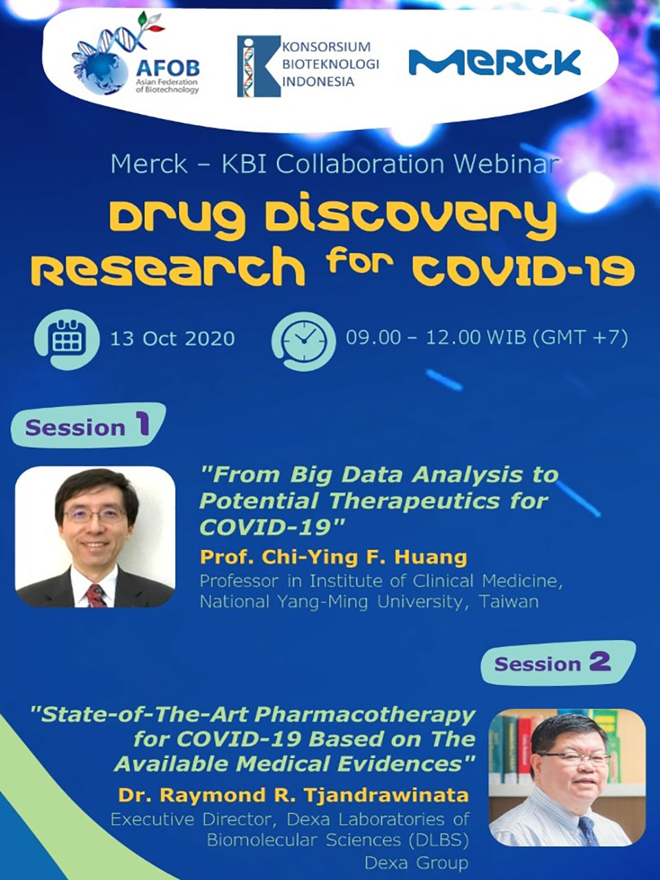 """Drug Discovery Research for COVID-19"" – A Merck Webinar in Collaboration with Konsorsium Bioteknologi Indonesia (KBI) and Asian Federation of Biotechnology (AFOB)"